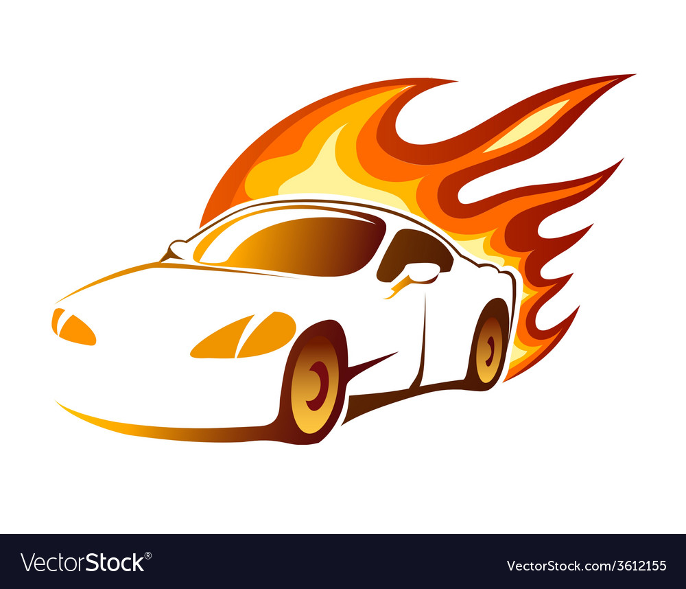 Modern luxury sporty coupe with burning flames vector | Price: 1 Credit (USD $1)