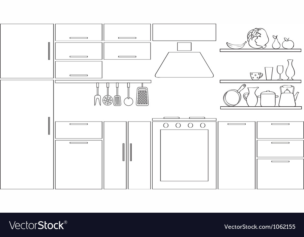 Outline kitchen silhouette vector | Price: 1 Credit (USD $1)