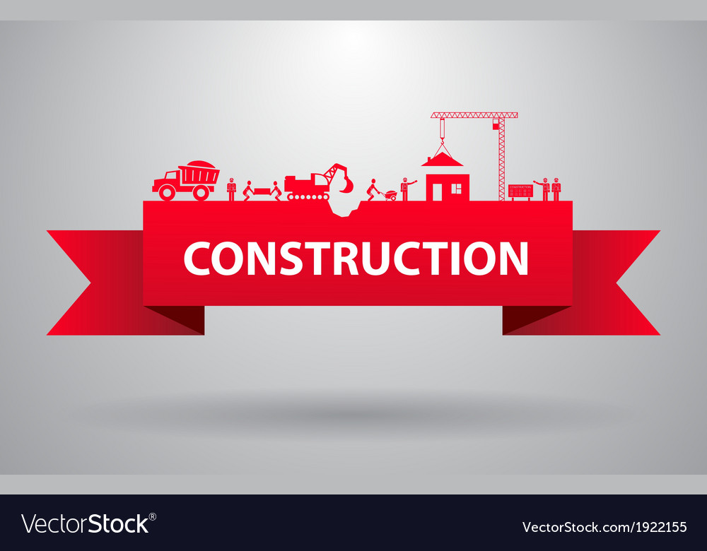 Red construction banner vector | Price: 1 Credit (USD $1)