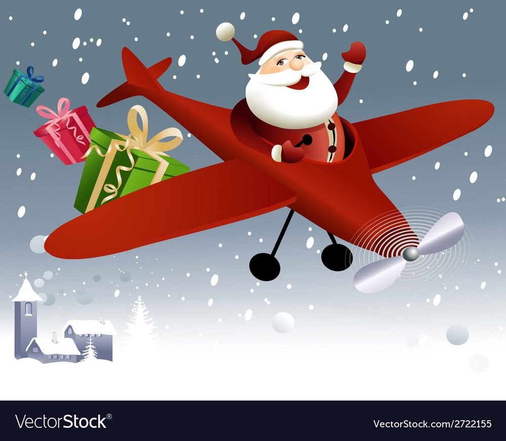 Santa claus flying in plane vector | Price: 1 Credit (USD $1)