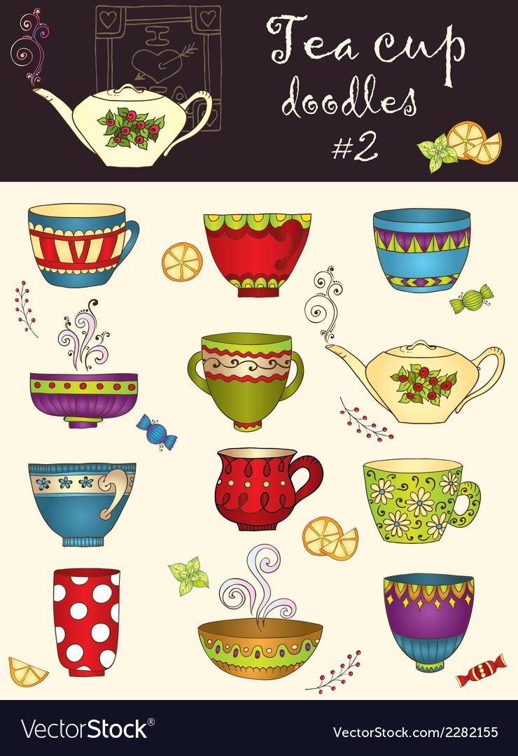 Set of doodle tea cup series of doodles vector | Price: 1 Credit (USD $1)