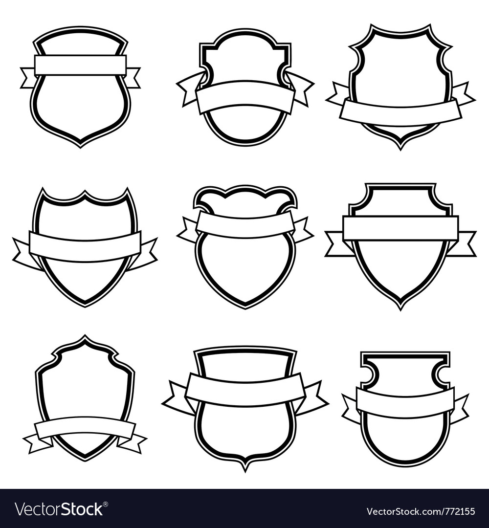 Shield with ribbon collection set vector | Price: 1 Credit (USD $1)