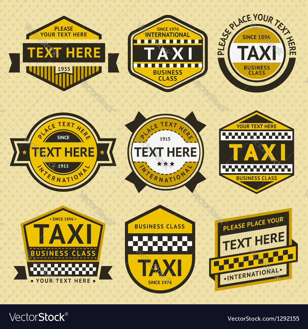 Taxi set insignia vintage style vector | Price: 1 Credit (USD $1)