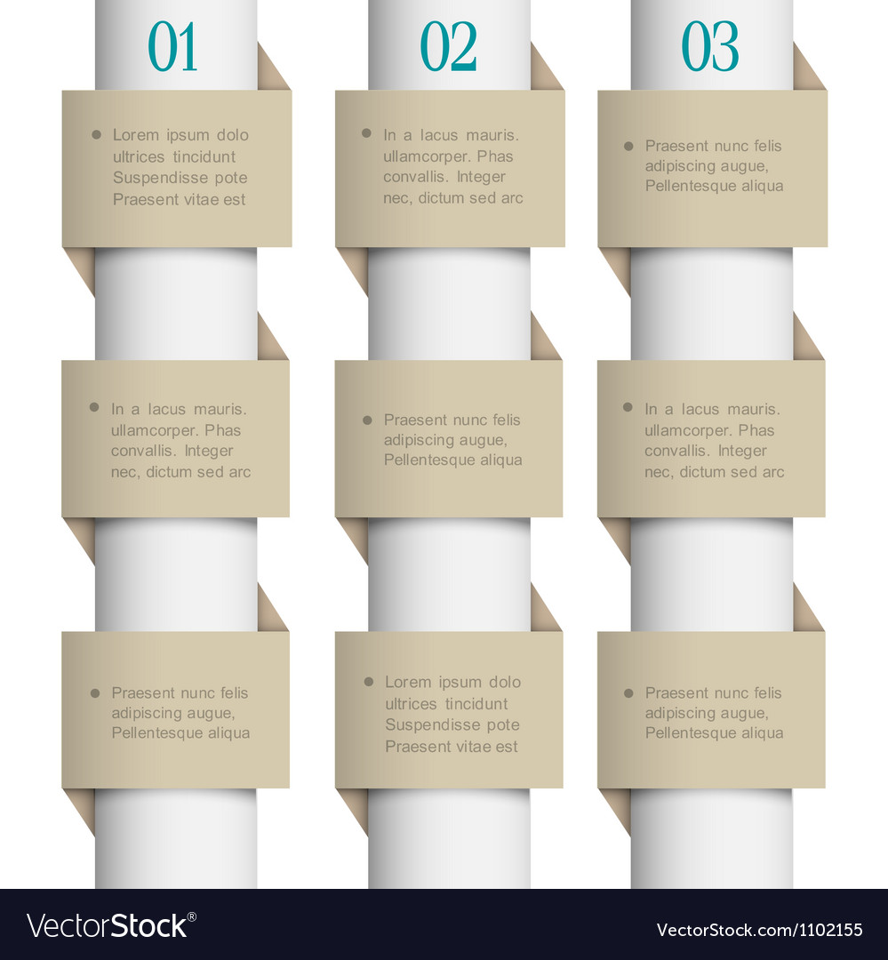 White paper numbered banners vector | Price: 1 Credit (USD $1)