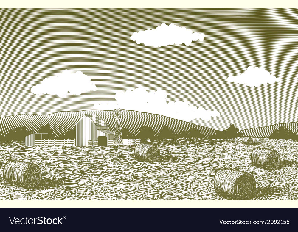 Woodcut barn scene vector | Price: 1 Credit (USD $1)