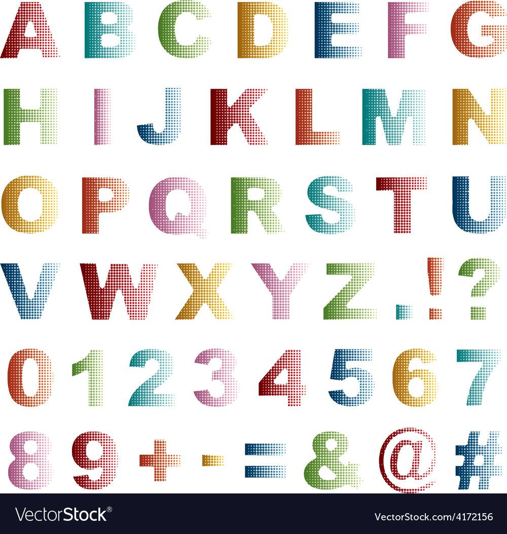 Dot alphabet vector