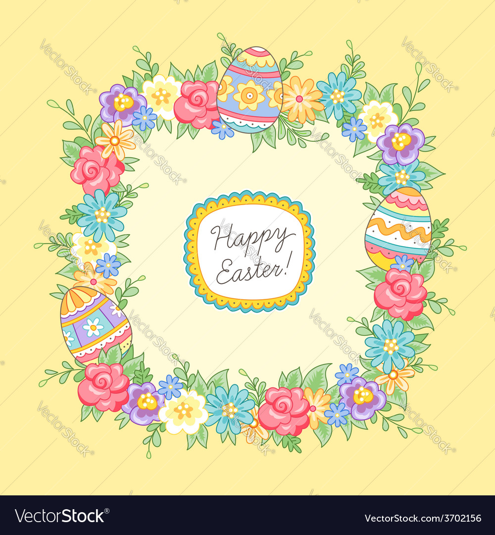 Easter wreath yellow square vector | Price: 1 Credit (USD $1)