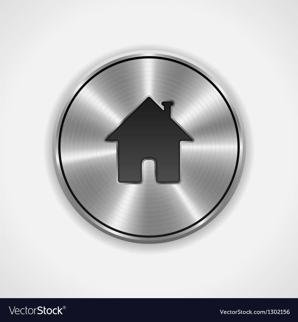Home button icon metal round vector | Price: 1 Credit (USD $1)