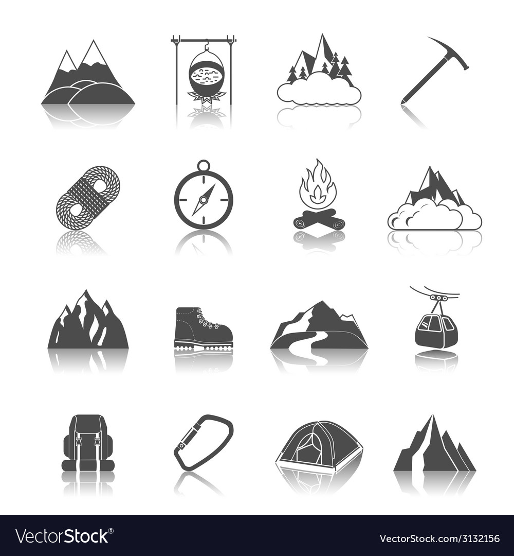 Mountain icons black vector | Price: 1 Credit (USD $1)