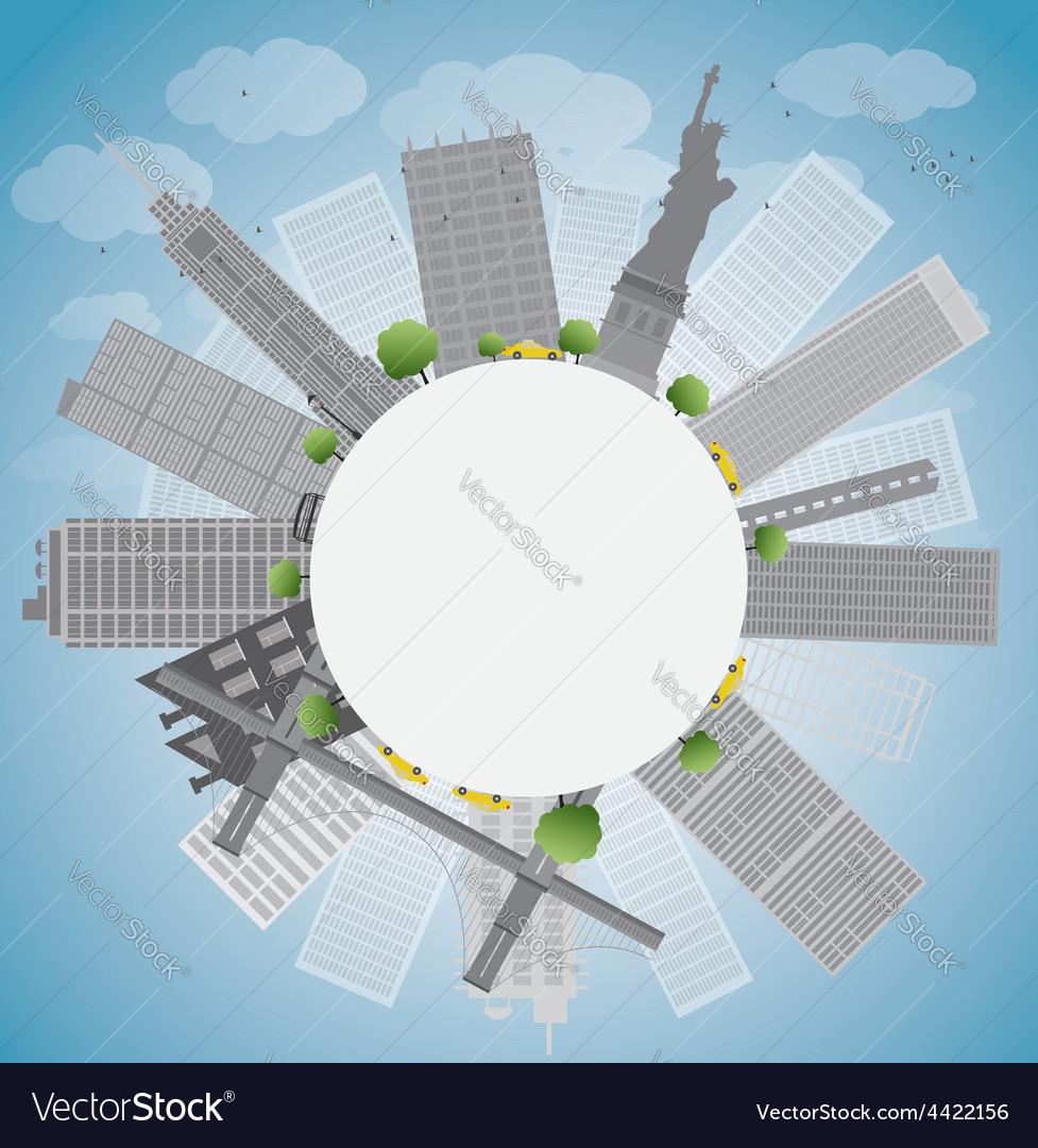 New york city skyline and circle vector | Price: 1 Credit (USD $1)