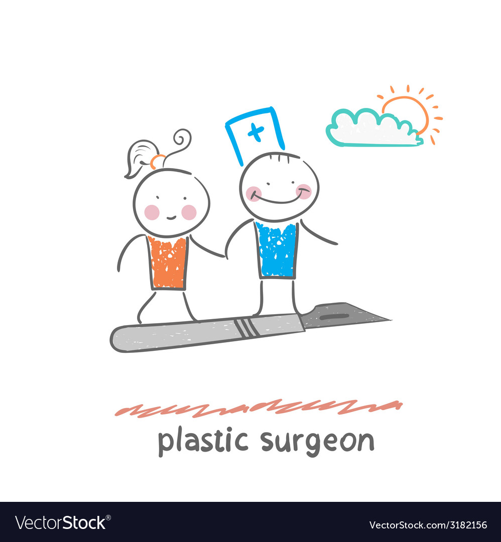 Plastic surgeon with a patient flies on a scalpel vector | Price: 1 Credit (USD $1)