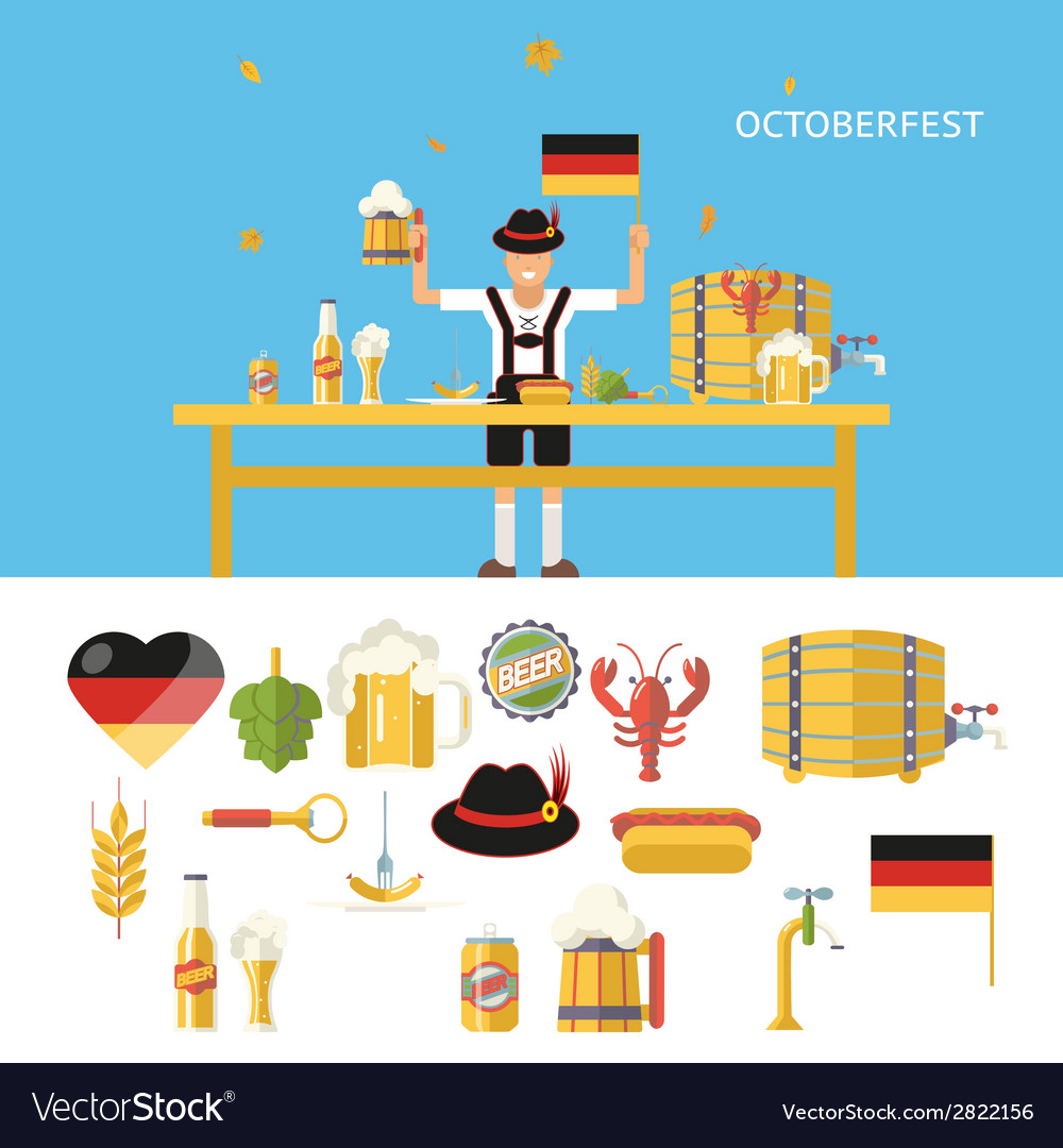 Retro octoberfest symbols beer alcohol accessories vector | Price: 1 Credit (USD $1)