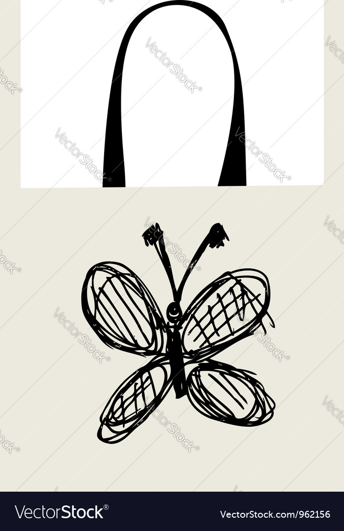 Shopping bag design funny butterfly sketch vector | Price: 1 Credit (USD $1)