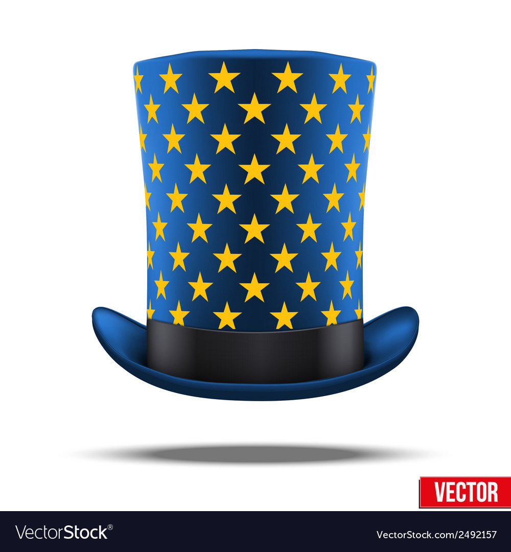 Blue big wizard hat cylinder with gold stars vector | Price: 1 Credit (USD $1)