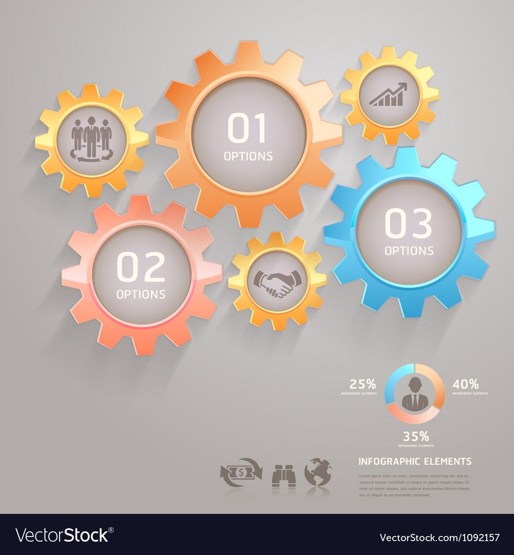 Business gears infographics numbers template vector | Price: 1 Credit (USD $1)