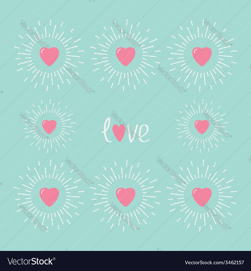 Card with pink shining hearts and word love flat vector | Price: 1 Credit (USD $1)