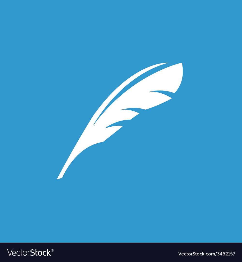 Feather icon white on the blue background vector   Price: 1 Credit (USD $1)