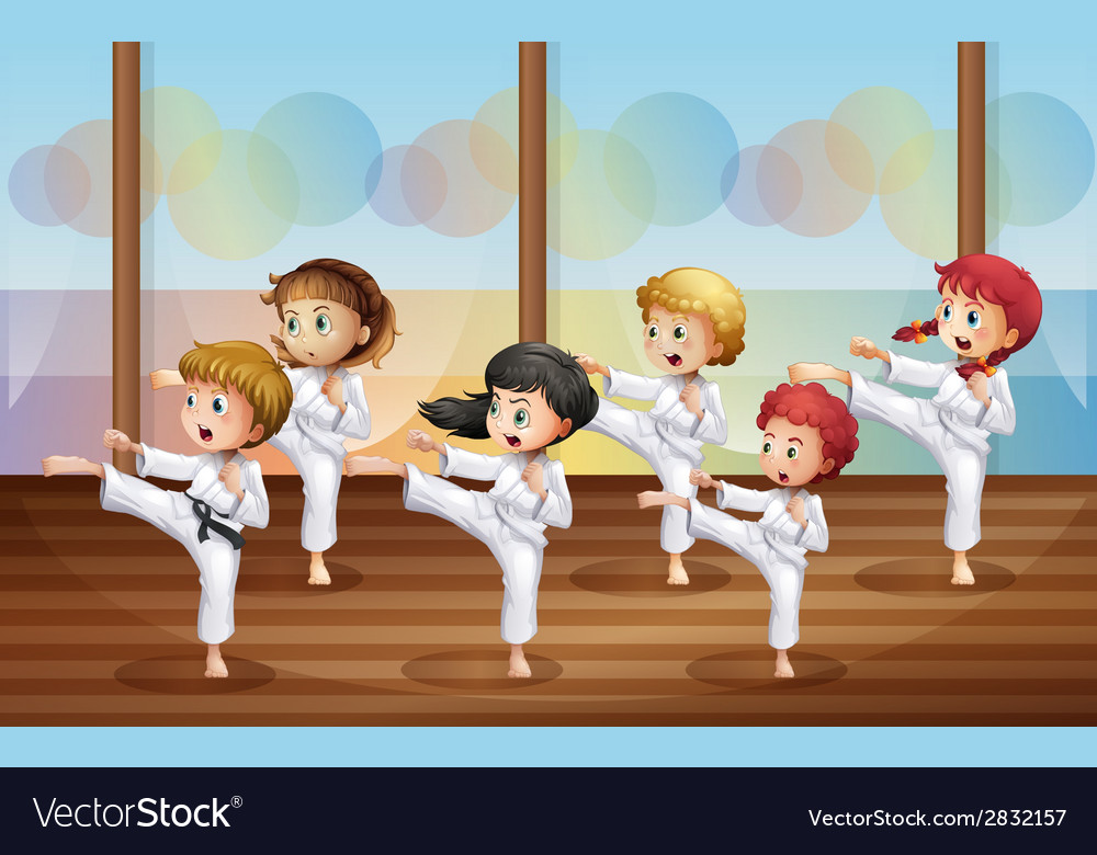 Kids practicing karate vector | Price: 1 Credit (USD $1)