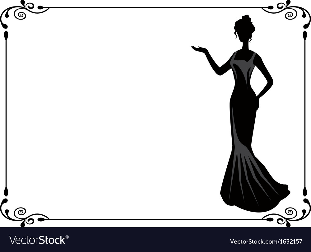 Retro woman in the frame vector | Price: 1 Credit (USD $1)
