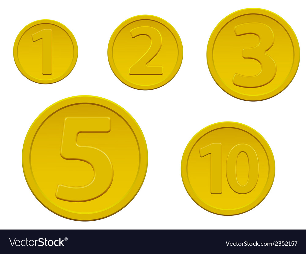Set of gold coins vector | Price: 1 Credit (USD $1)