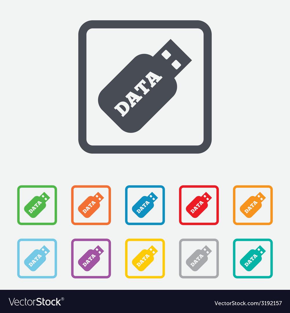 Usb stick sign icon usb flash drive button vector | Price: 1 Credit (USD $1)