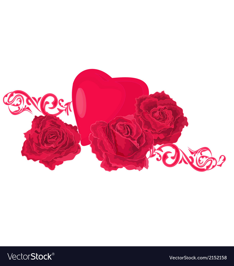 Background-of-roses-and-hea vector | Price: 1 Credit (USD $1)