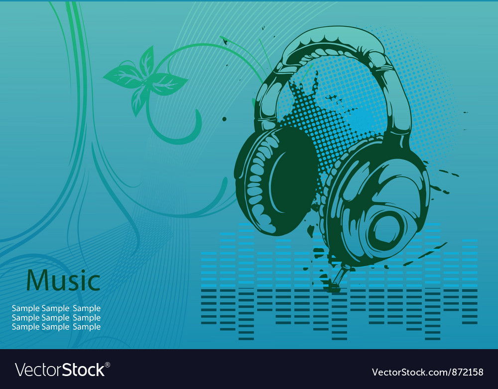 Concert poster with headphones vector | Price: 1 Credit (USD $1)