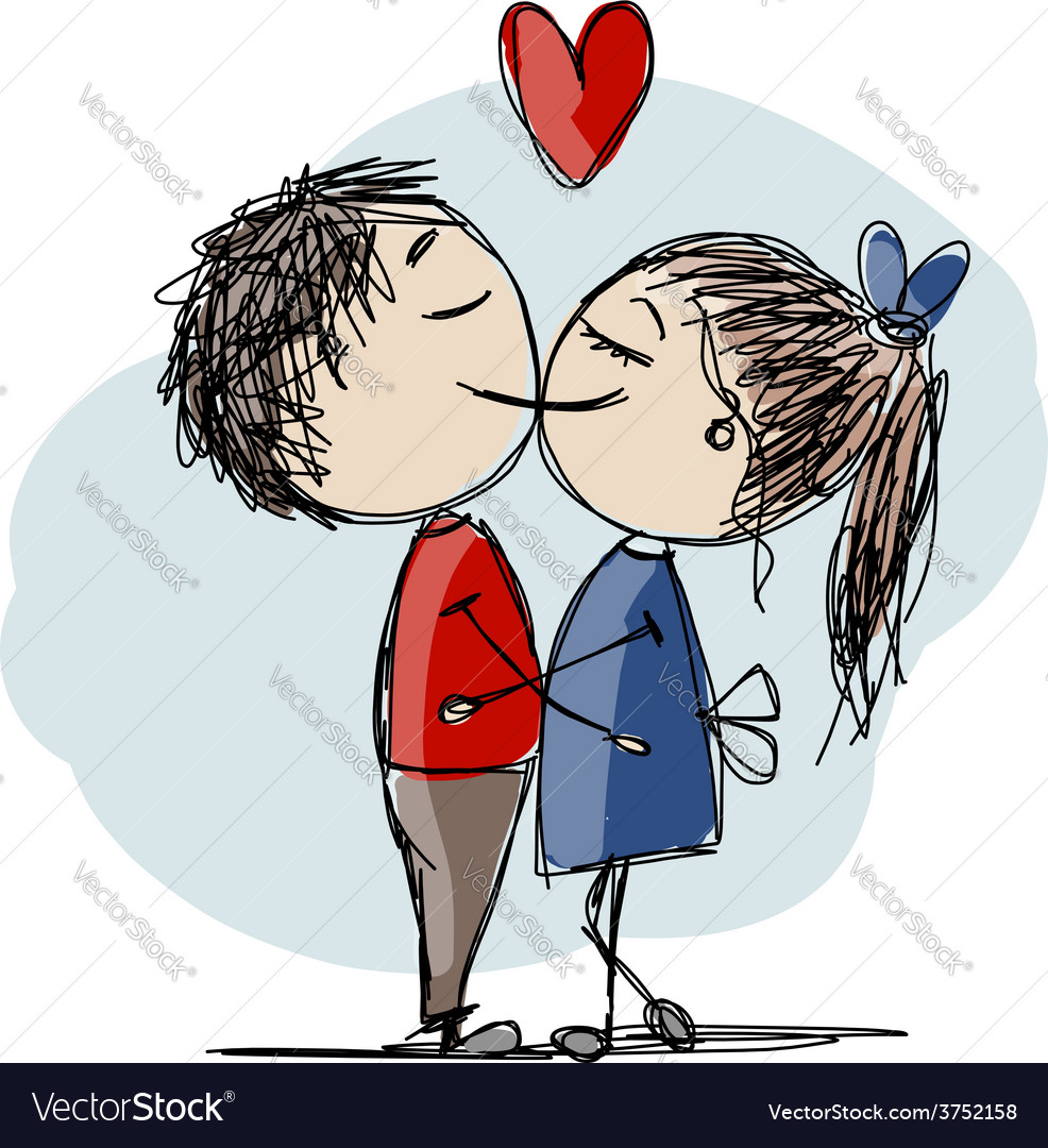 Couple in love kissing valentine sketch for your vector | Price: 1 Credit (USD $1)