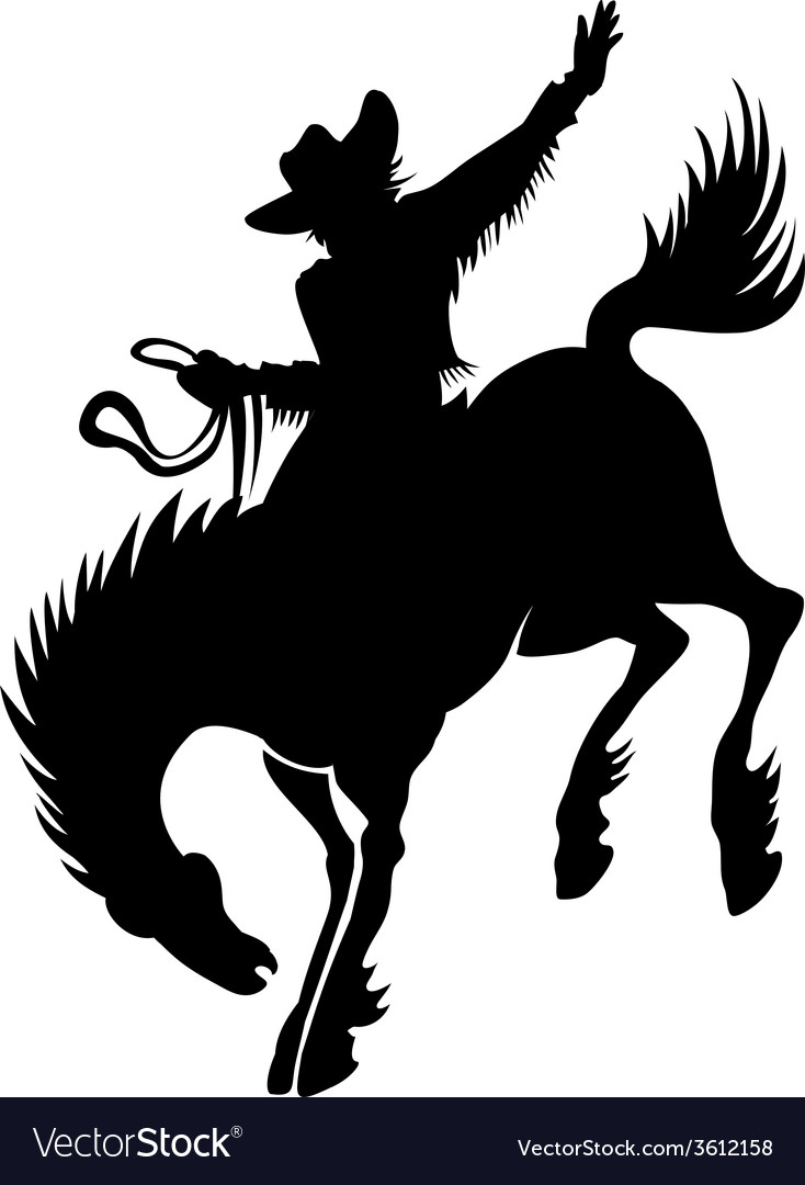 Cowboy at rodeo silhouette vector | Price: 1 Credit (USD $1)