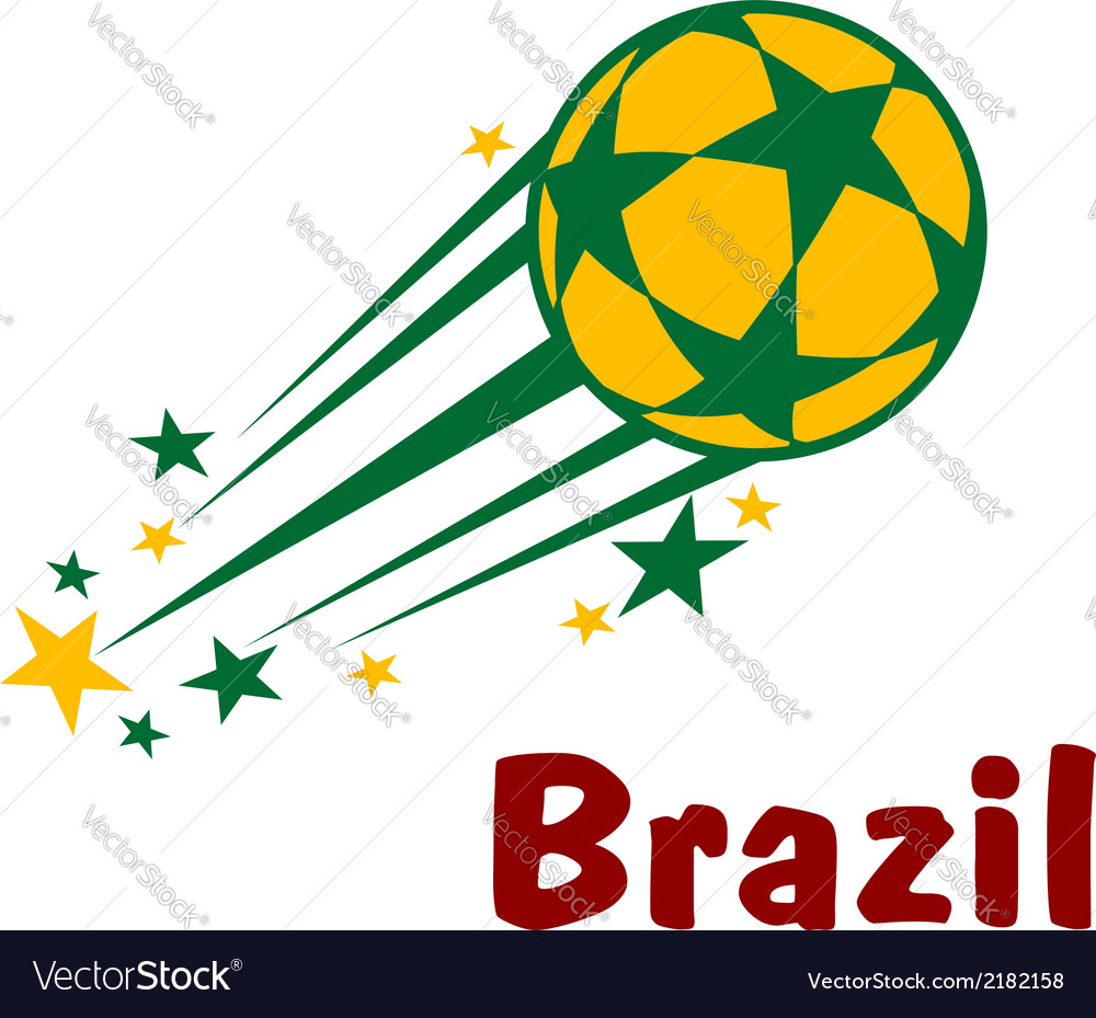 Flying brazil soccer or football ball vector | Price: 1 Credit (USD $1)