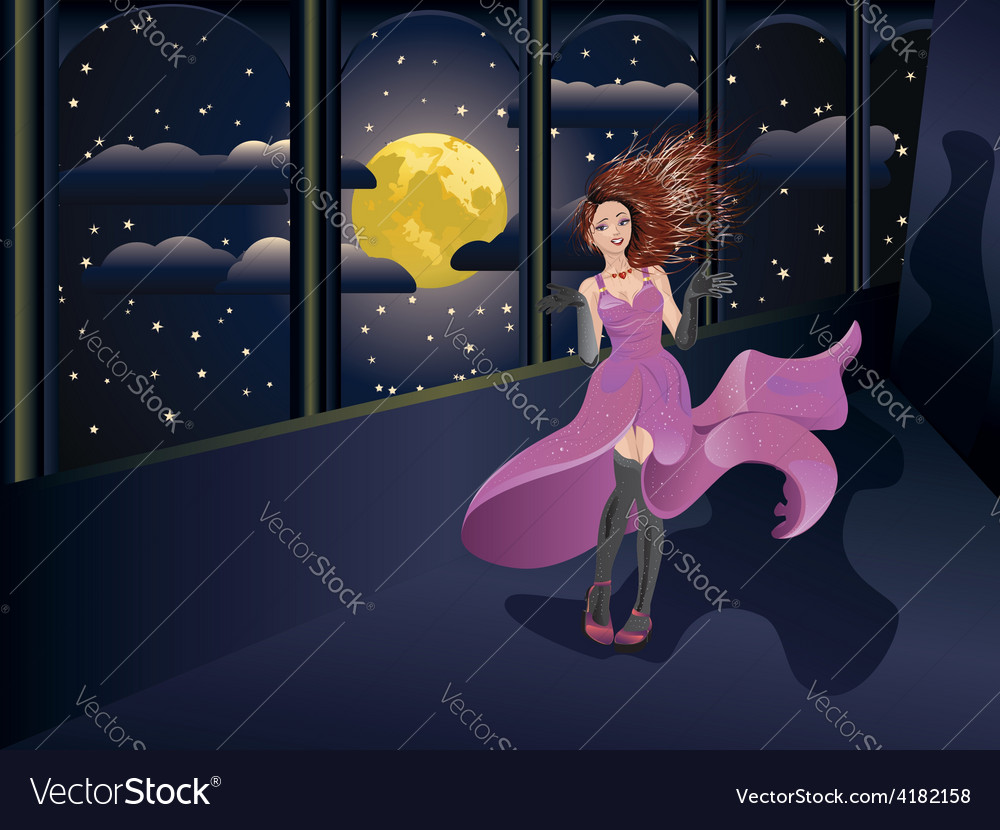 Girl in purple dress on balcony vector | Price: 3 Credit (USD $3)