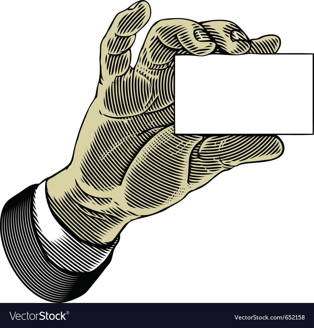 Hand holding white blank card in engraved style vector | Price: 1 Credit (USD $1)
