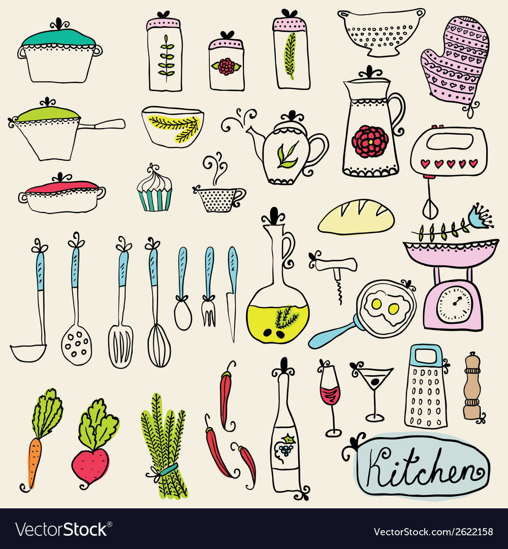 Kitchen set in  stylish design elements of kitchen vector | Price: 1 Credit (USD $1)