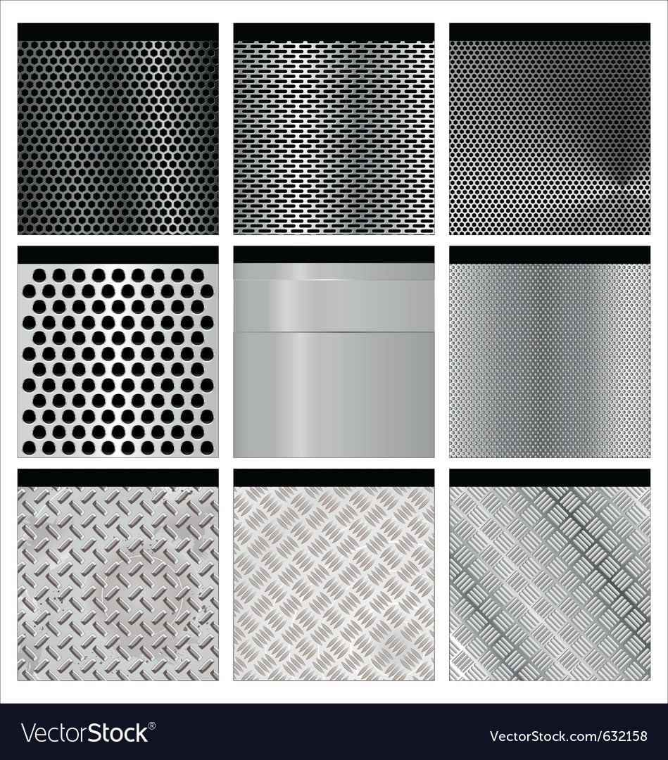 Metal textures set vector | Price: 1 Credit (USD $1)