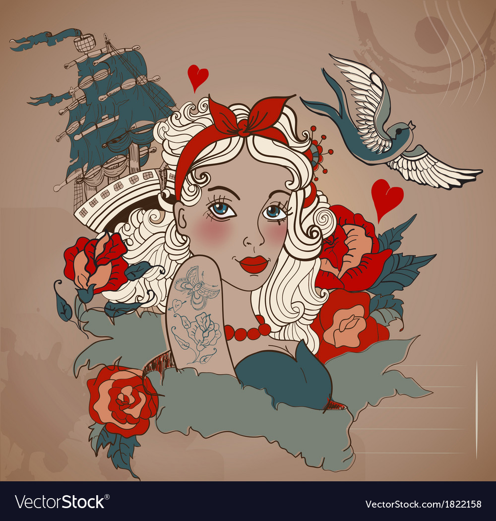 Old-school styled tattoo woman with bird and ship vector | Price: 1 Credit (USD $1)