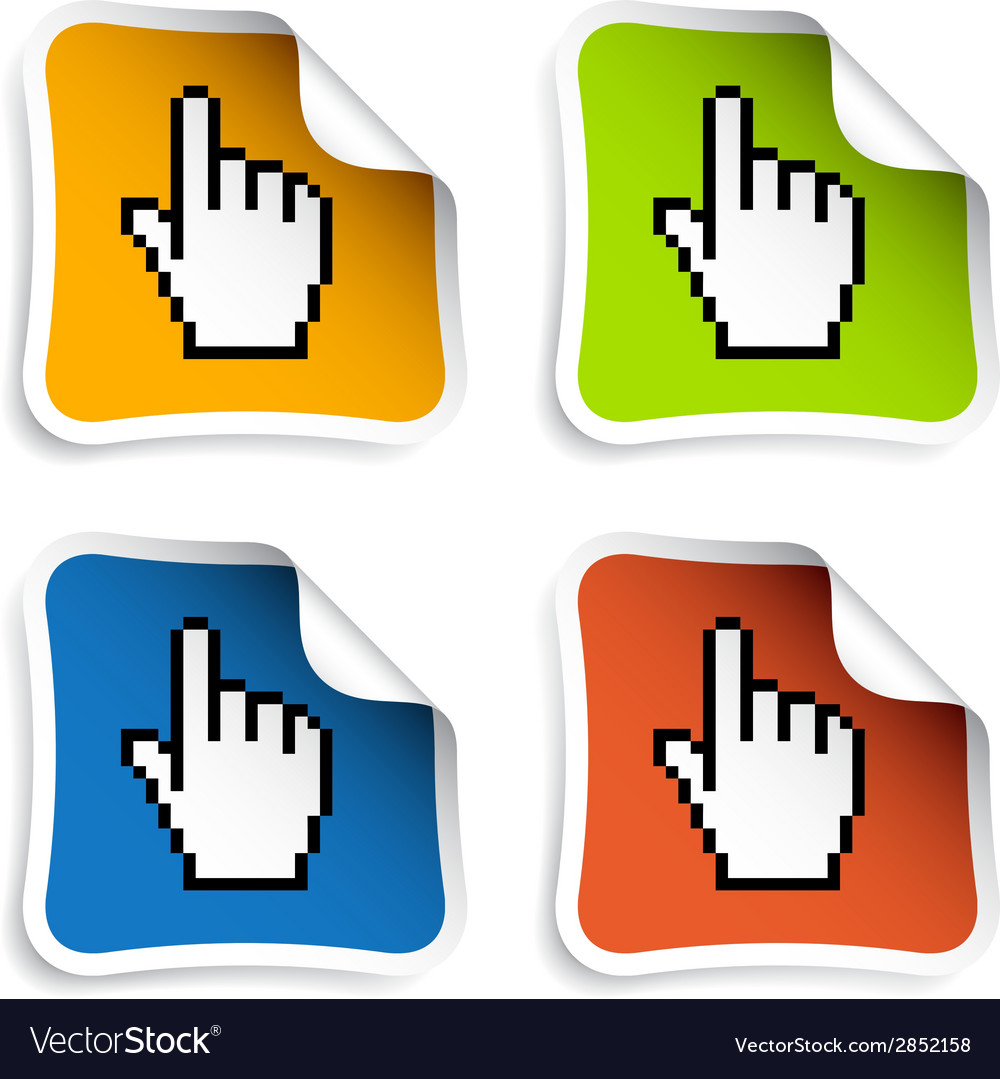 Pixel cursor hand stickers vector   Price: 1 Credit (USD $1)