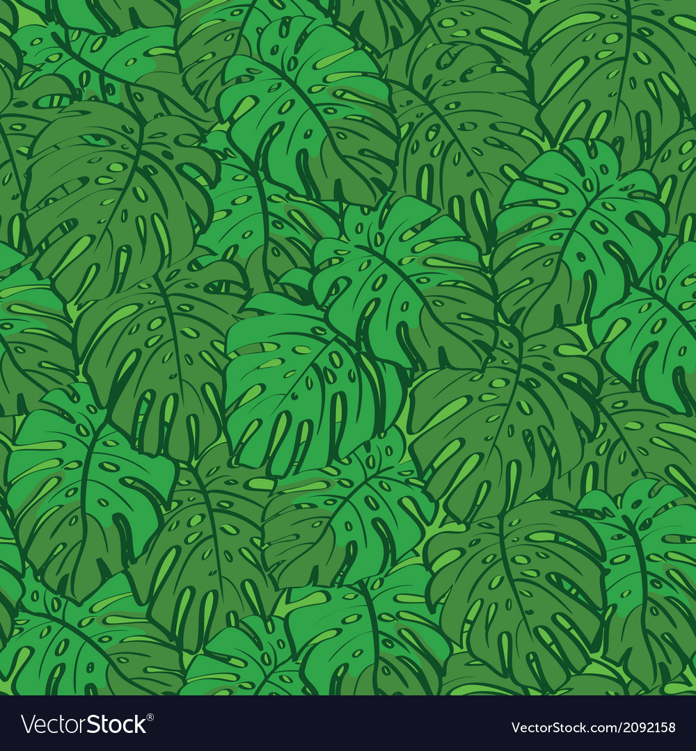 Seamless background monstera green leaves vector | Price: 1 Credit (USD $1)