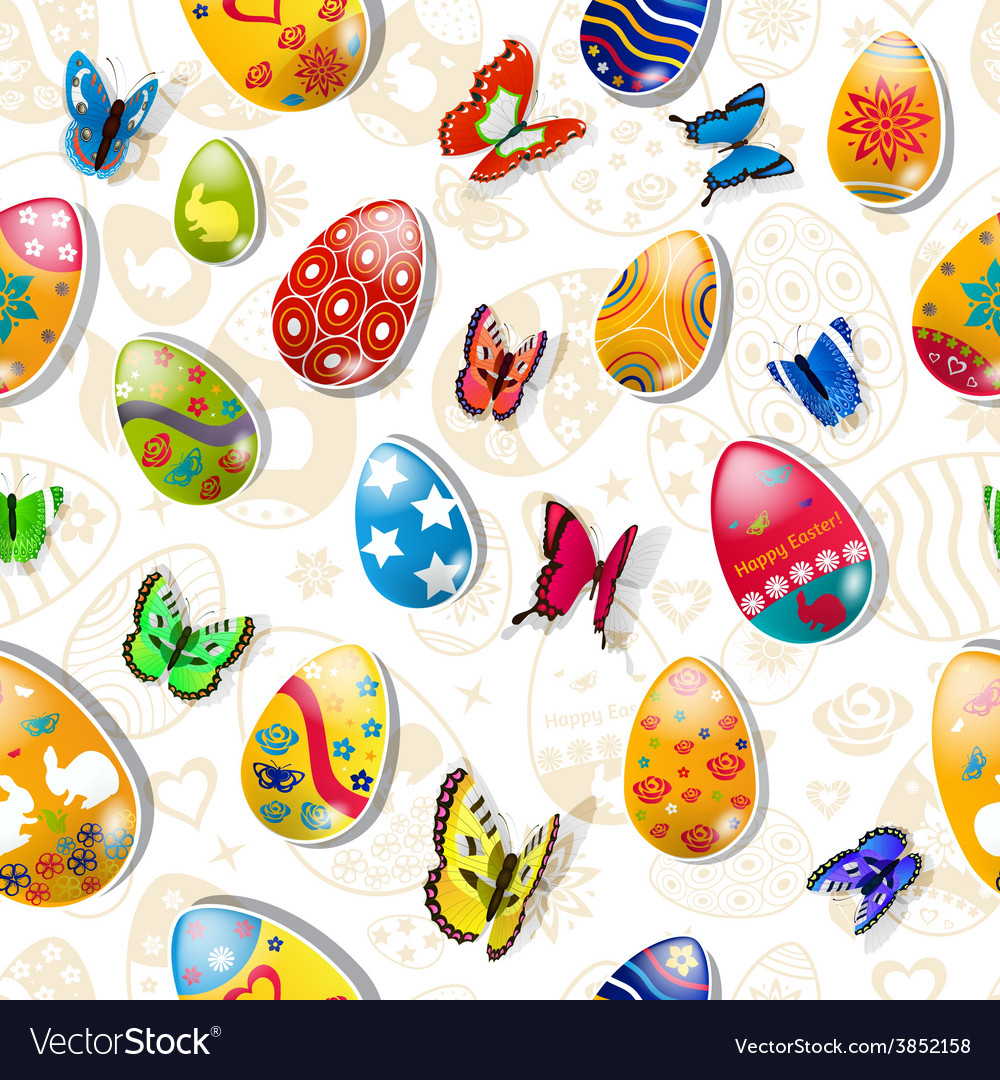 Seamless pattern of easter eggs and butterflies vector | Price: 1 Credit (USD $1)
