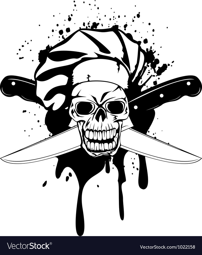 Skull in toque and crossed knifes vector   Price: 1 Credit (USD $1)