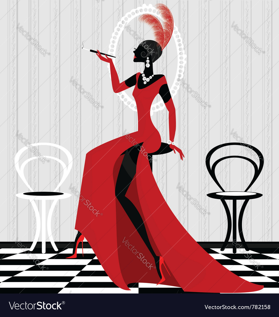 Smoking lady in red vector | Price: 1 Credit (USD $1)
