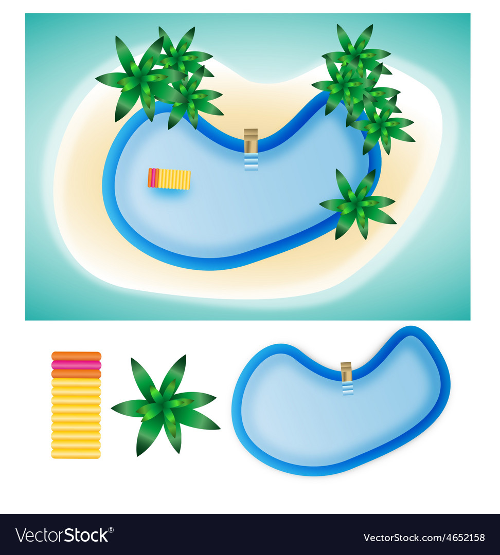 Swimming pool island summer elements vector | Price: 1 Credit (USD $1)