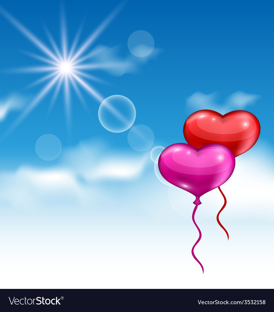 Two glossy hearts balloons for valentine day vector | Price: 1 Credit (USD $1)