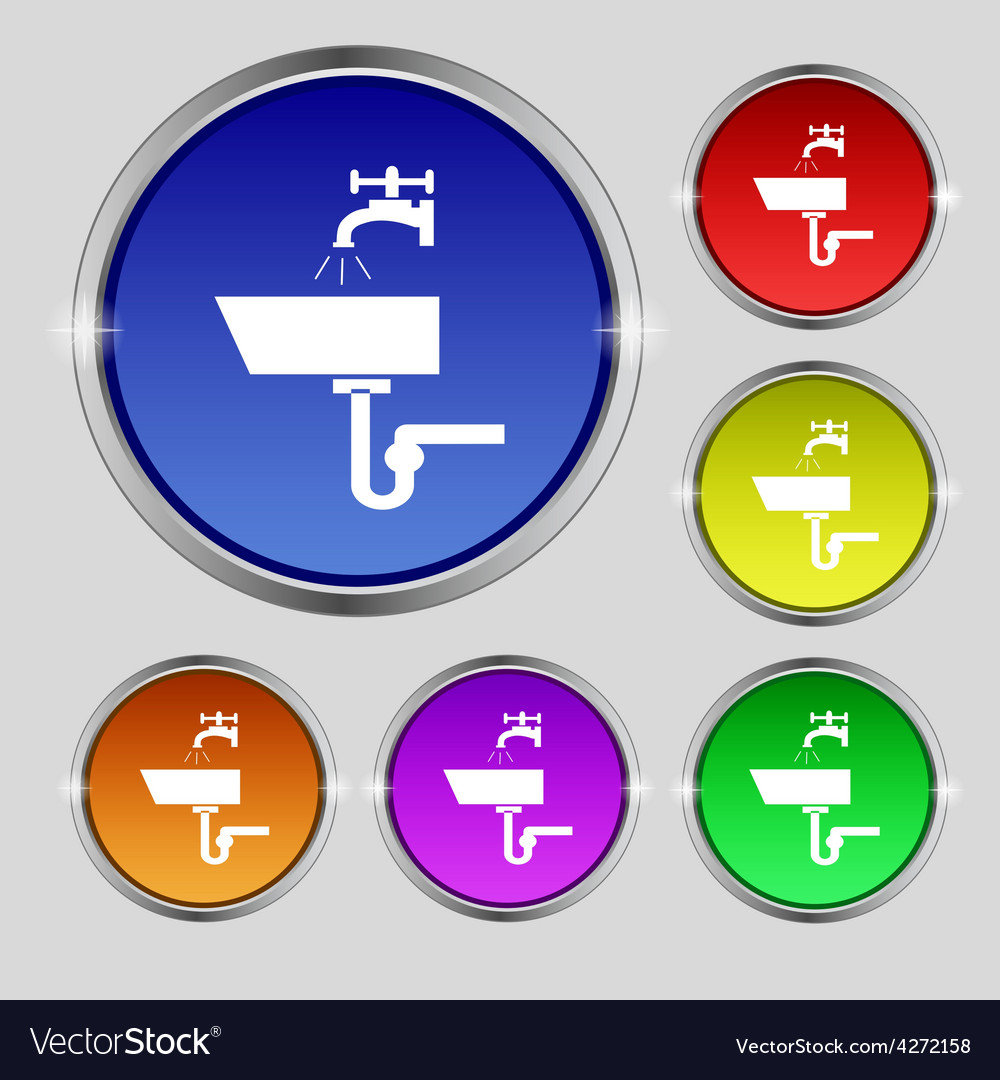 Washbasin icon sign round symbol on bright vector | Price: 1 Credit (USD $1)
