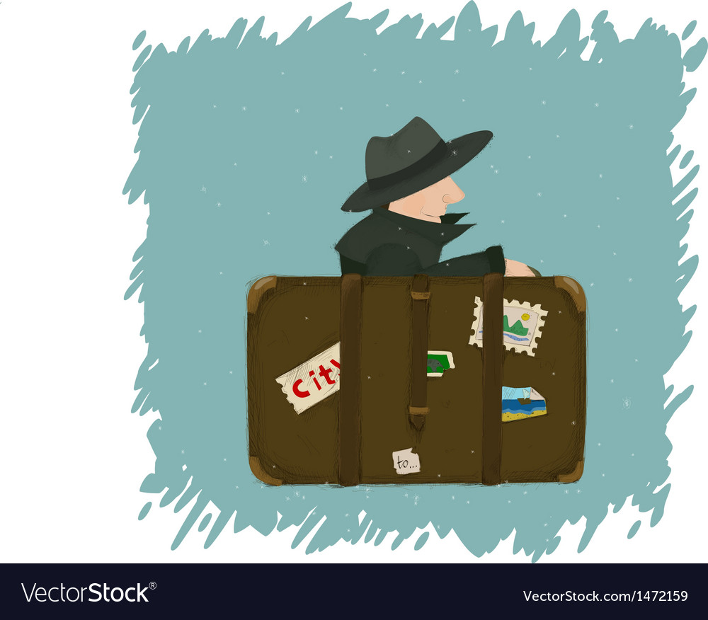 A man going to travel somewhere from a city with a vector | Price: 3 Credit (USD $3)