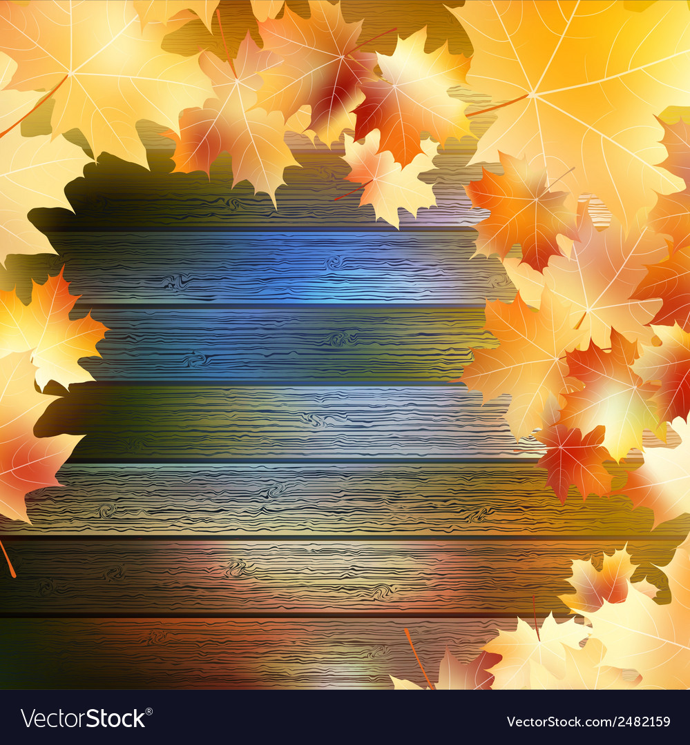 Autumn leaves over wooden background eps10 vector | Price: 1 Credit (USD $1)