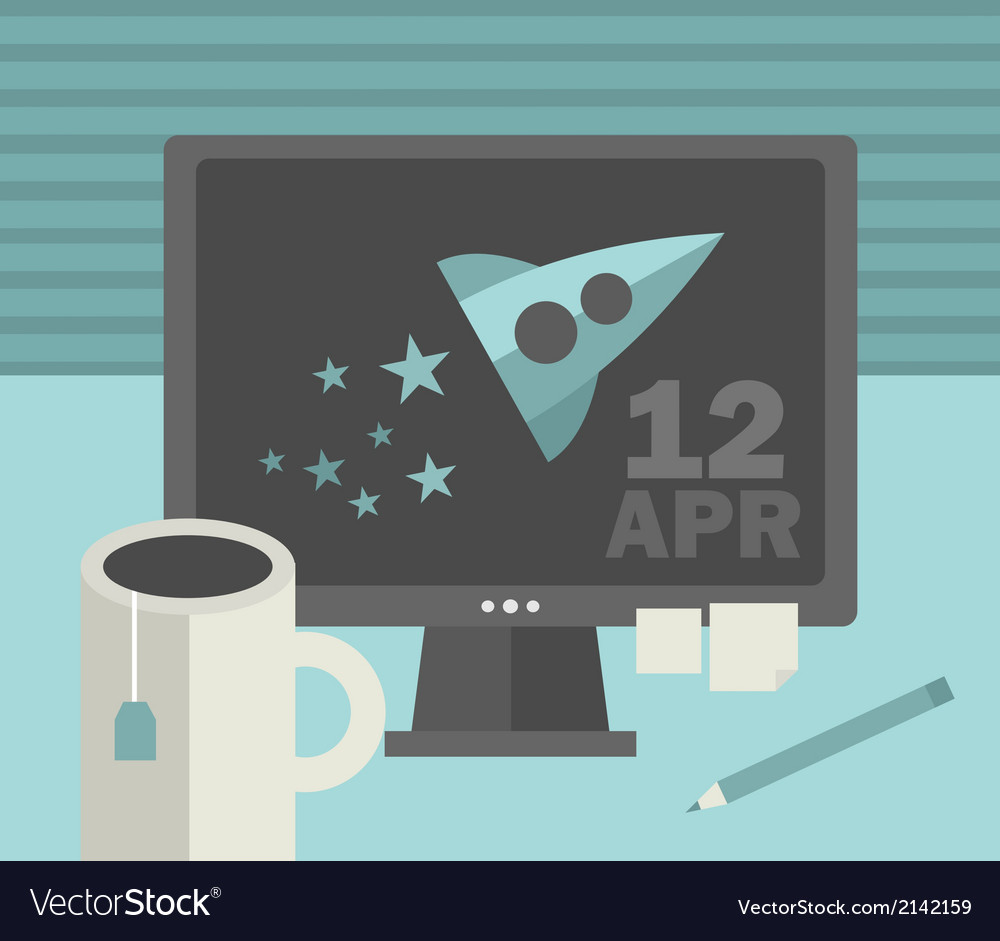 Computer screen with retro spaceship vector | Price: 1 Credit (USD $1)