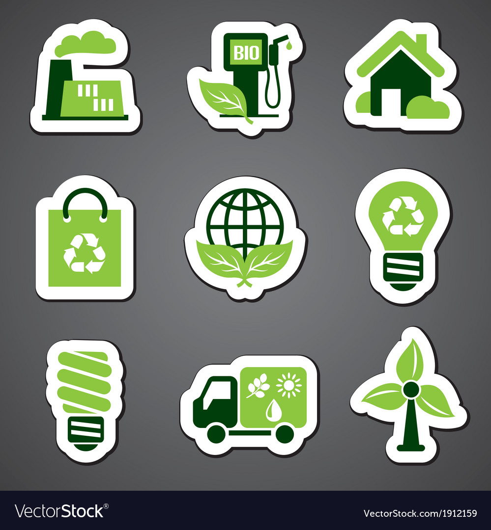 Eco sticker label vector | Price: 1 Credit (USD $1)