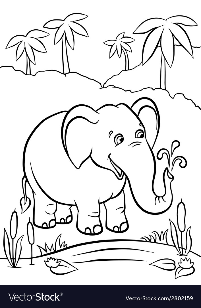 Elephant playing with water vector | Price: 1 Credit (USD $1)