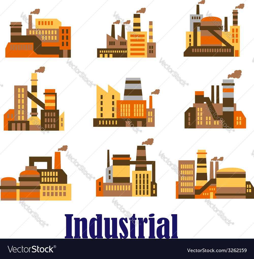 Flat industrial icons of plants and factories vector | Price: 1 Credit (USD $1)