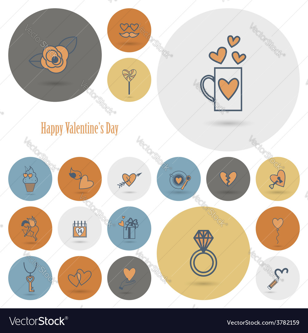Happy valentines day icons vector | Price: 1 Credit (USD $1)